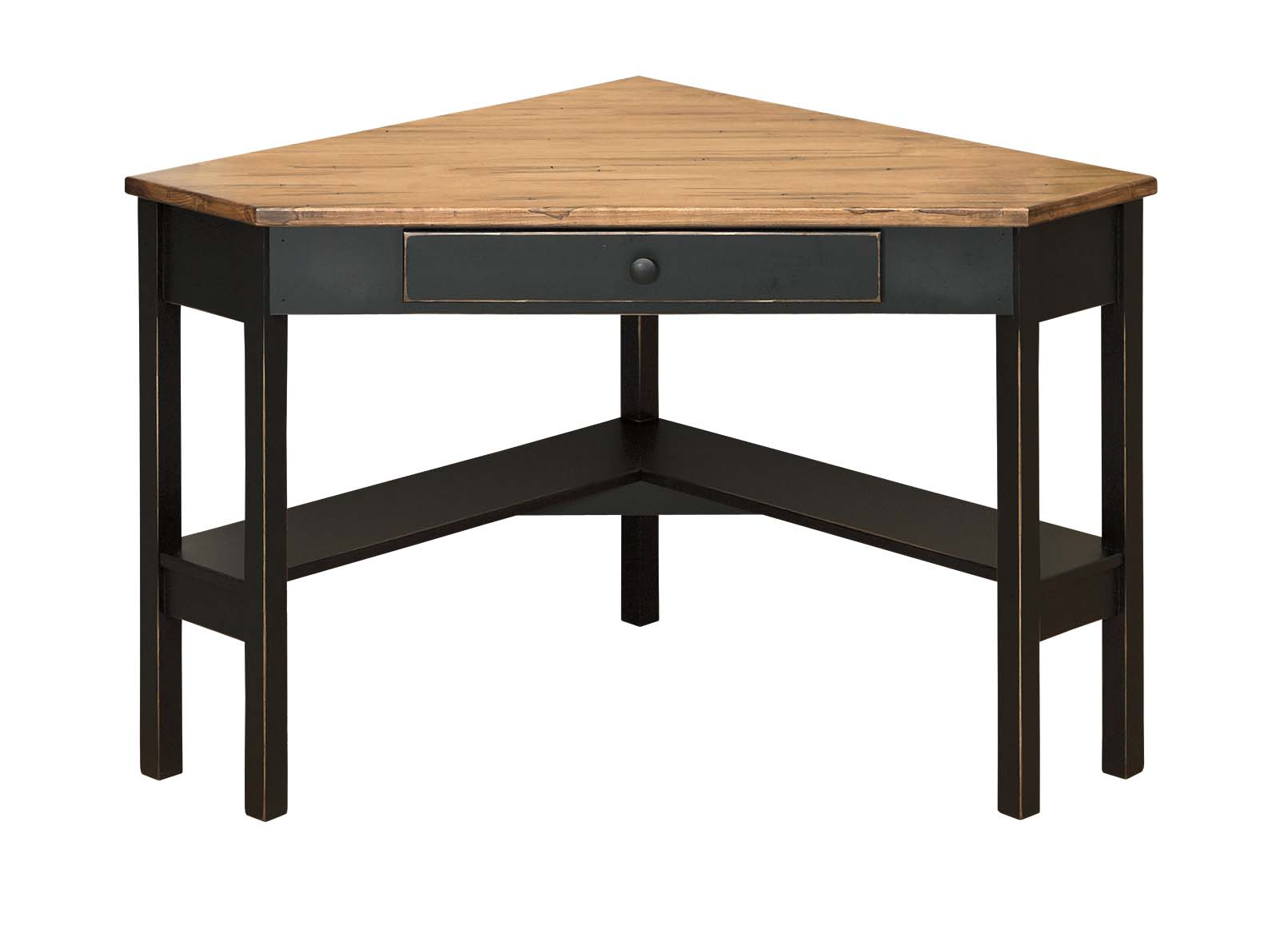Corner Desk with Wormy Maple Top - Amish Furniture ...