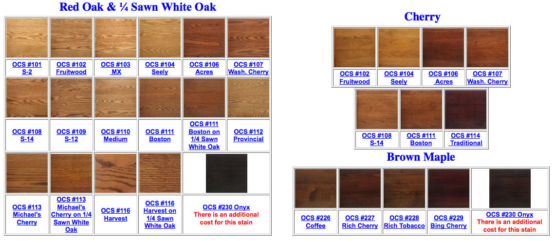Stain/Paint Selection