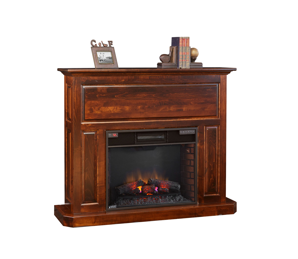 Fireplace mantel with 28 insert amish furniture for Fireplace insert options