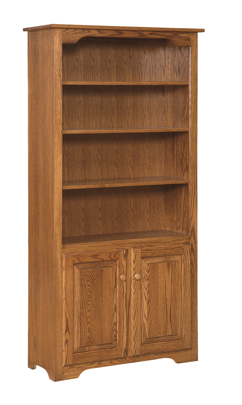 6 39 Bookcase With Doors On Bottom Only Amish Furniture