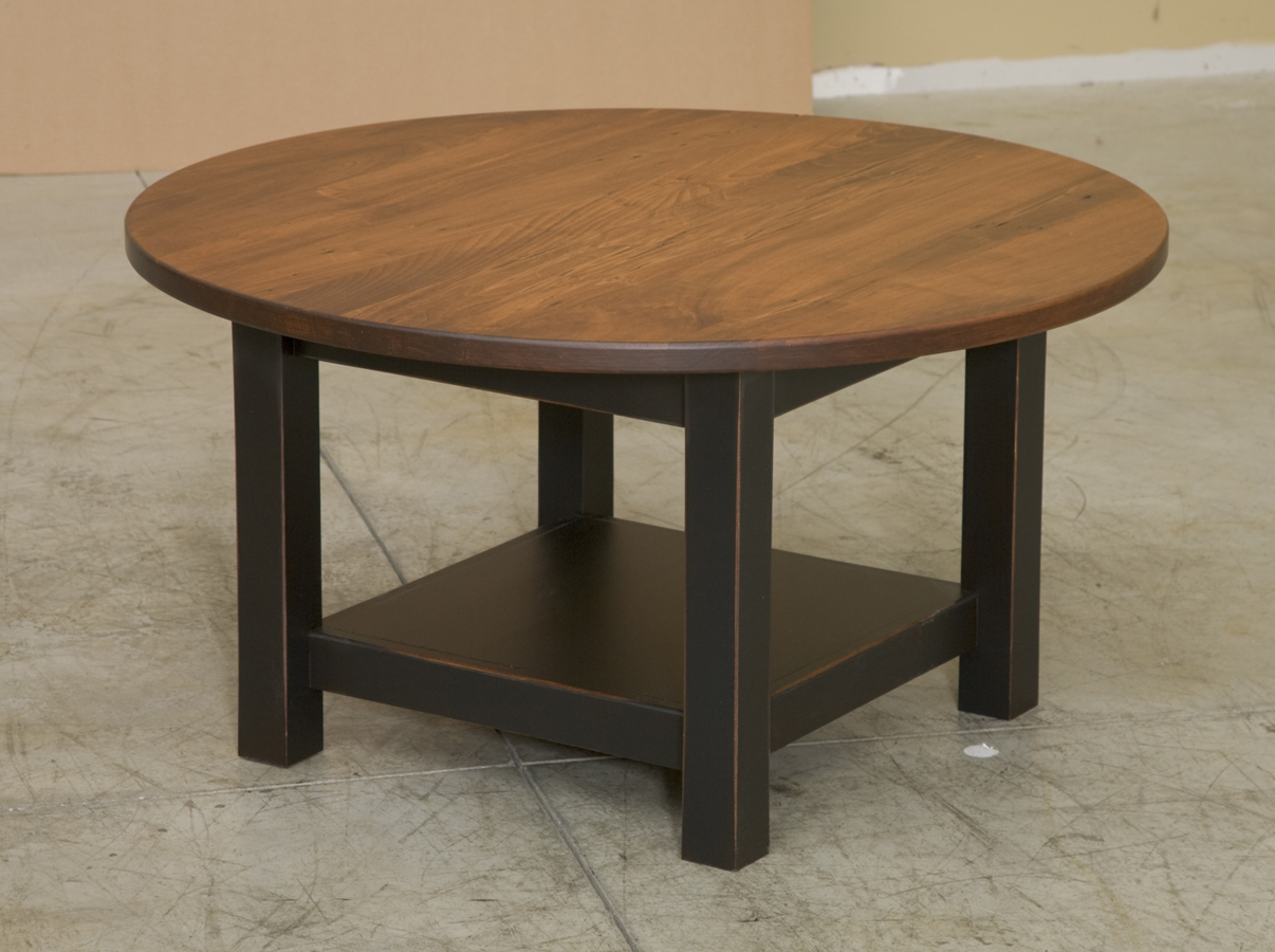 Round Coffee Table With Wormy Maple Top Zoom