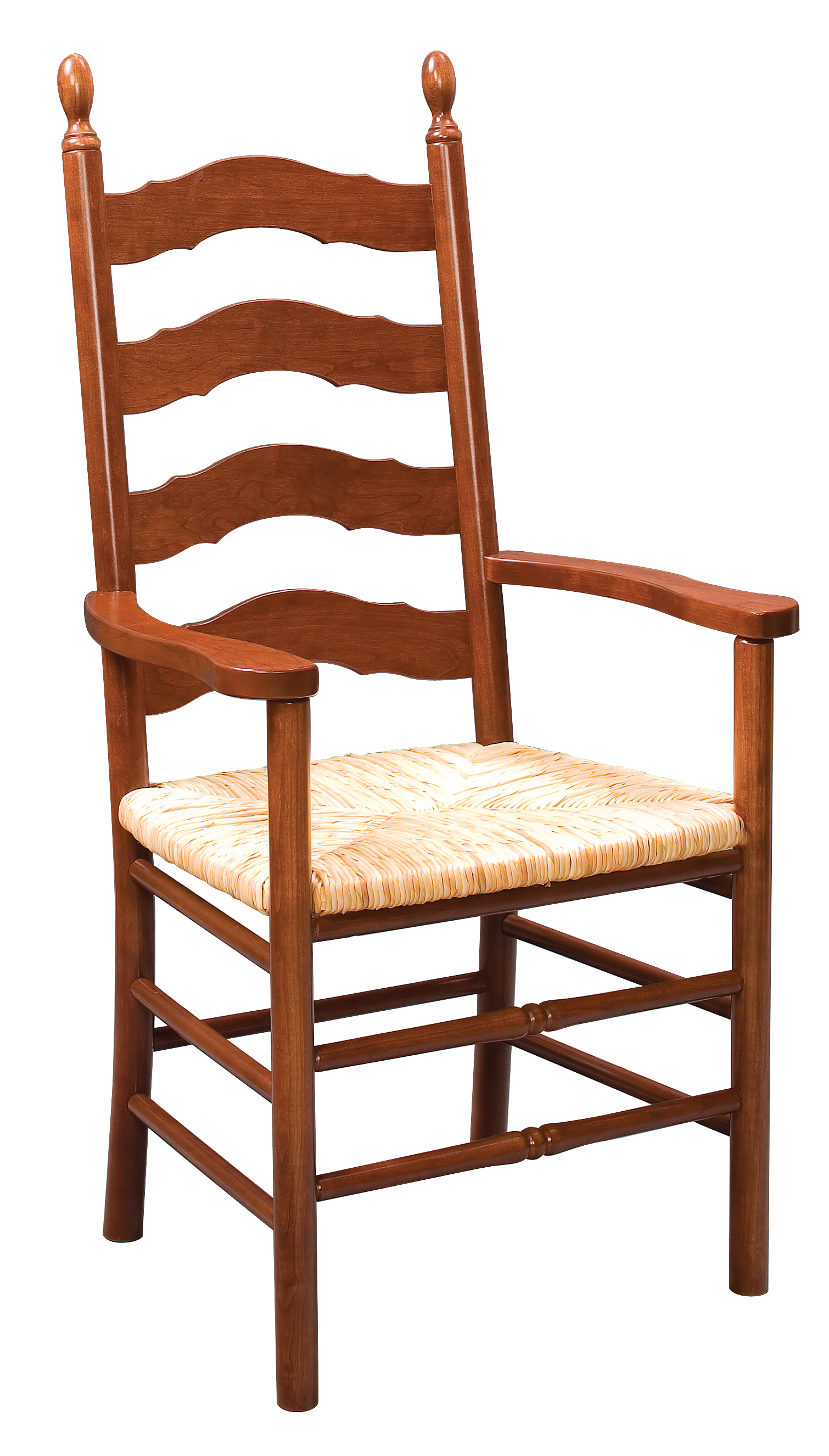 French Country Ladder Back Arm Chair Amish Furniture